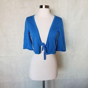 🌼{ ann taylor loft } blue cropped tie cardigan